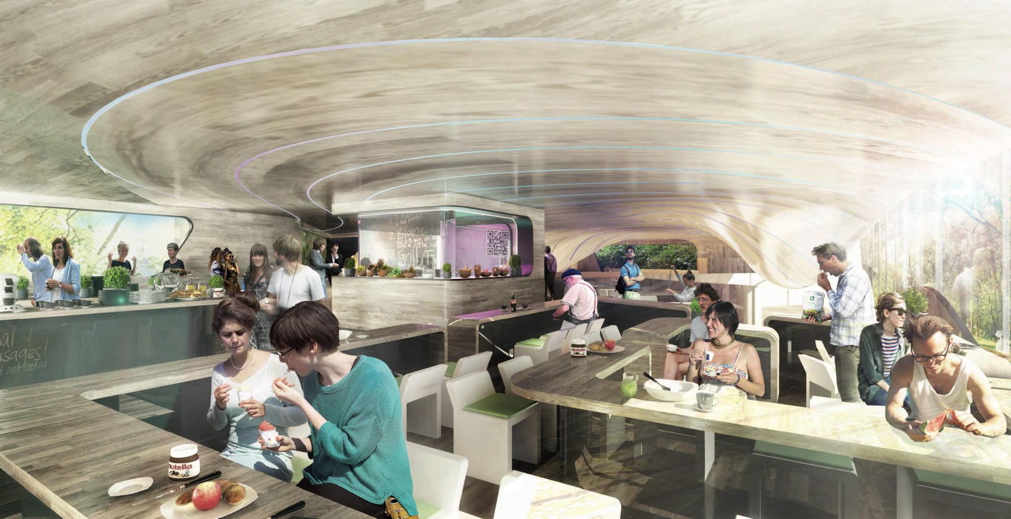 Auch im Speisesaal setzen die Berliner Architekten Graft auf runde und offene Formen.