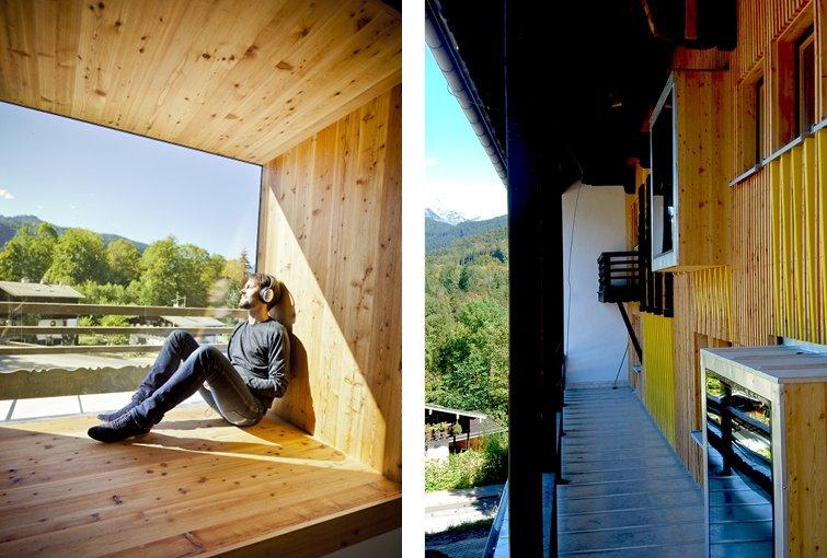 Blick aus dem Fenster in der Design-Jugendherberge Berchtesgaden.