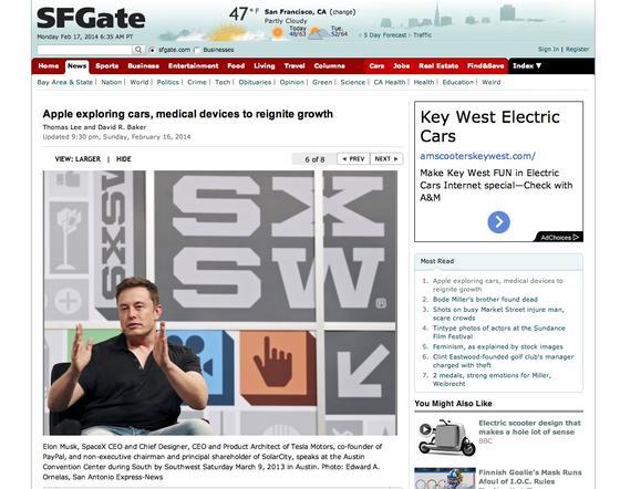 Meldung des San Francisco Chronicle über Gespräche zwischen Apple und Tesla: Jetzt wird spekuliert, ob Apple ins Autogeschäft einsteigen will.