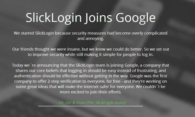 SlickLogin informiert auf seiner Homepage über den Verkauf an Google.