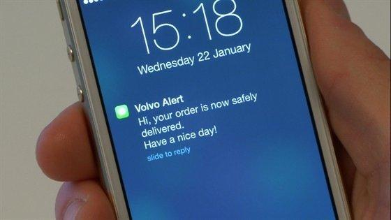 Der Belieferte erhält die Nachricht über die Zustellung auf sein Smartphone.