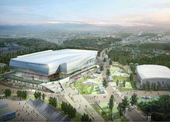 Die Halle Ice Hockey II (links) wird ab März 2014 für die Eishockeywettkämpfe der Frauen gebaut. Sie soll über 6000 Sitzplätze verfügen und gleicht eine Apple-Mouse mit Flügeln.