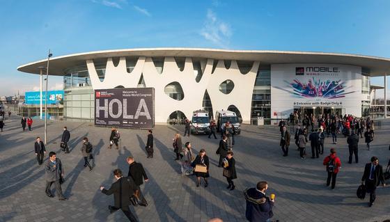 Eingang zumMobile World Congress in Barcelona, der wichtigsten Mobilfunkmesse der Welt. Dort stellen derzeit fast 2000 Aussteller die neuesten Mobilfunkentwicklungen vor.