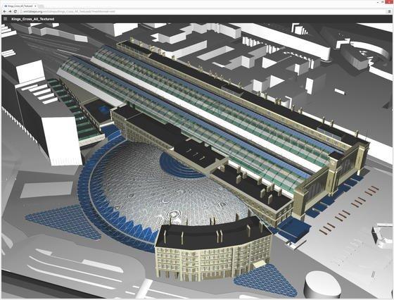 Das Londoner Ingenieurbüro Arup kann den Londoner Bahnhof King's Cross im Webbrowser als 3D-Modell darstellen. Somit können alle Projektpartner aktuelle Projektdaten in Echtzeit visualisieren –ganz ohne Spezialsoftware. Entwickelt haben die Technik Informatiker der Universität des Saarlandes.