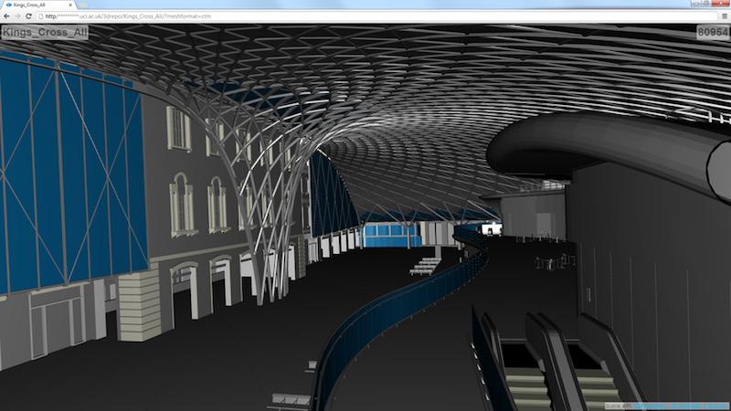 Innenansicht des Londoner Bahnhofs King's Cross mit XML3DRepo. Mit der neuen Gebäudedatenmodellierung lässt sich die Kommunikation zwischen Architekten, Bauherrn und Öffentlichkeit kostengünstiger gestalten.