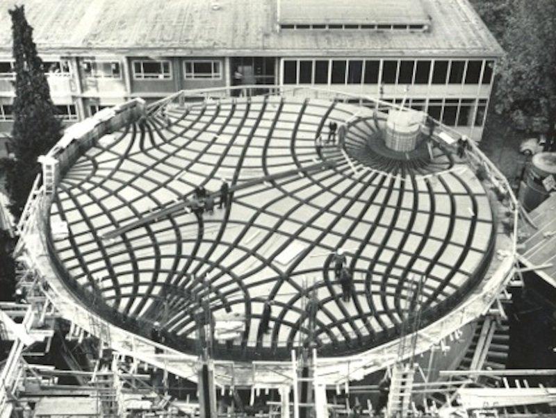 Schema der Deckenkonstruktion, die der ArchitektHans-Dieter Hecker 1968 entworfen hat.