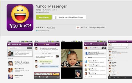 Yahoo-Messenger im App-Store von Google:Alle fünf Minuten zog der der britische Geheimdienst Bilder aus Videochats über den Yahoo-Messenger. Die Bilder wurden nicht nur ausgewertet, sondern auch für die Erprobung einer Software für die automatische Geschichtserkennung genutzt.