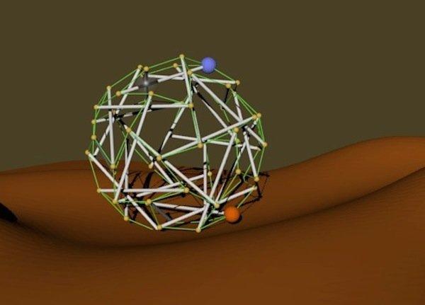Der NASA-Superball als Modell: Von diesen leichtgewichtigen Roboter könnten binnen kürzester Zeit Dutzende oder vielleicht sogar Hunderte auf einem Planeten abgesetzt werden und ihn erforschen.