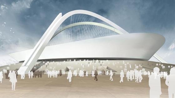 Entwurf des Nationalstadions in Tripolis: Das deutsche Architekturbüro gmp hat das Fußballstadion entworfen, das zur afrikanischen Meisterschaft 2017 eröffnen soll.