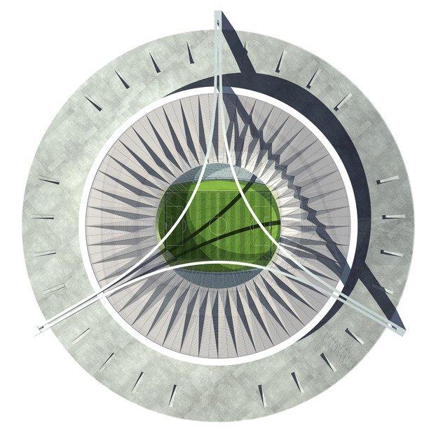 Blick auf das neue libysche Nationalstadion von oben: Der Komplex, der um eine kreisrunde Mulde mit etwa 500 Meter Durchmesser errichtet wird, steht ganz im Zeichen der Zahl 3.