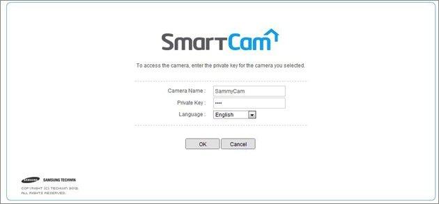 Ein Password von bis zu acht Zeichen Länge wird beim Aufruf der SmartCam-App abgefragt.