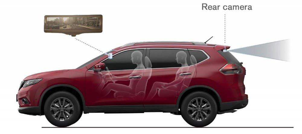 Nissan präsentiert auf dem Genfer Autosalon einen elektronischen Innenspiegel mit Videofunktion. Das Bild der Heckkamera lässt sich bei schlechtem Wetter digital optimieren.