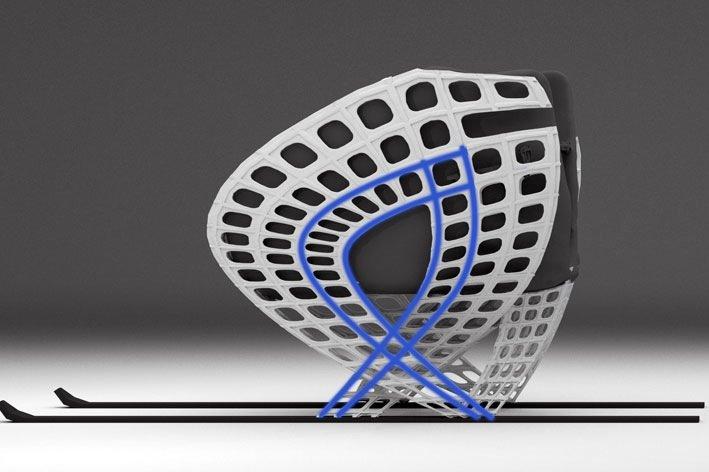 Ein CAD-Design des zweiten Skischlittens mit Metallverstrebungen. Sie werden in Röhren eingeklebt, die während der generativen Fertigung in den Streben aus Polyamid 12 »freigelassen« wurden.
