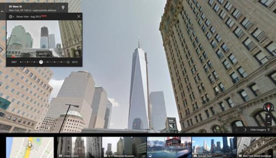 Der Freedom Tower in New York bei Google Maps. Die neue Funktion macht es möglich, Zeitsprünge zwischen den Jahren 2007 und 2013 zu machen.