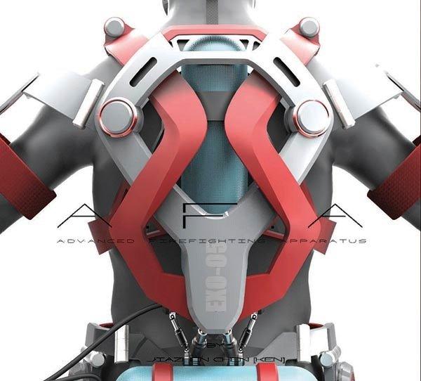 Das Exoskelett für Feuerwehrmänner ist 1,60 Meter hoch und wiegt rund 23 Kilogramm. Die Energie für Luftdruck- und Hydrauliksysteme zur Unterstützung der Bewegungen kommt aus Lithium-Batterien. Zusätzlich integriert sind mehrere Taschenlampen, eine Sauerstoffflasche und ein Computer.