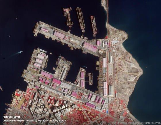 Skysat-Aufnahme von Port Fuad in Ägypten: Skysat Imaging hat sich auf ausgesprochen scharfe Satellitenaufnahmen spezialisiert und damit das Interesse von Google geweckt.