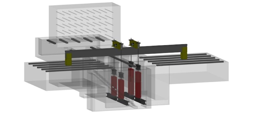 Prüfgerät der Bahn: Die Zugfedern bringen eine Mittellast auf die Schiene. Die Elektromotoren regen sie anschließend zur Eigenschwingung bei circa 20 Hertz an.
