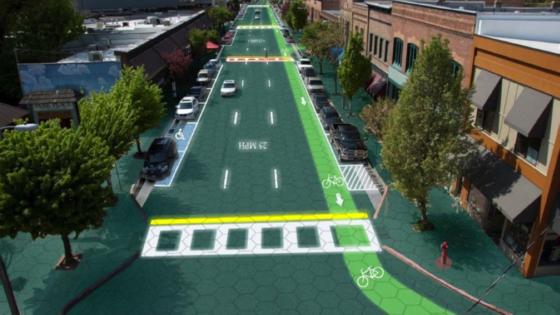 Integrierte LEDs verwandeln die Straße in einen riesigen Monitor. So können Radwege, Zebrastreifen und Sperrmarkierungen Position und Farbe wechseln.