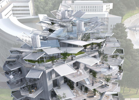 Spitze des Wohnturms von Sou Fujimoto in Montpellier: Zwölf spektakuläre Hochhäuser plant die südfranzösische Stadt. Fujimotos Hochhaus soll bereit 2015 gebaut werden.