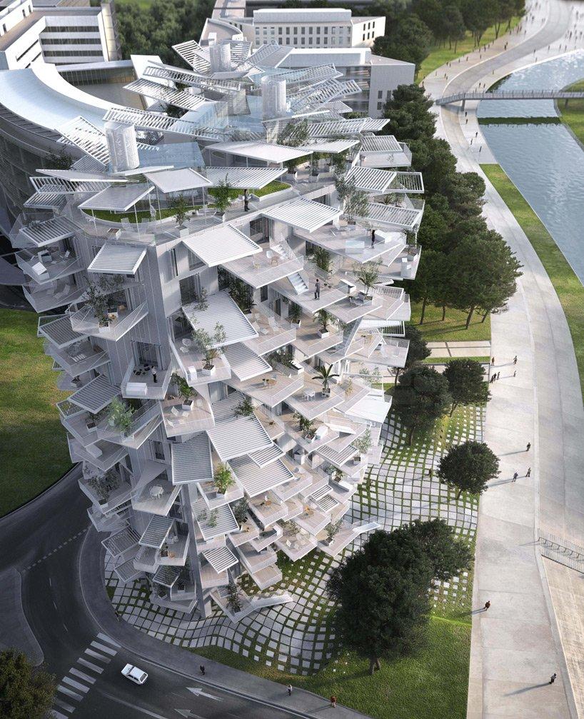 Wohnturm von Sou Fujimoto in Montpellier: Das 17-geschossige Hochhaus orientiert sich an einem geöffneten Kiefernzapfen.