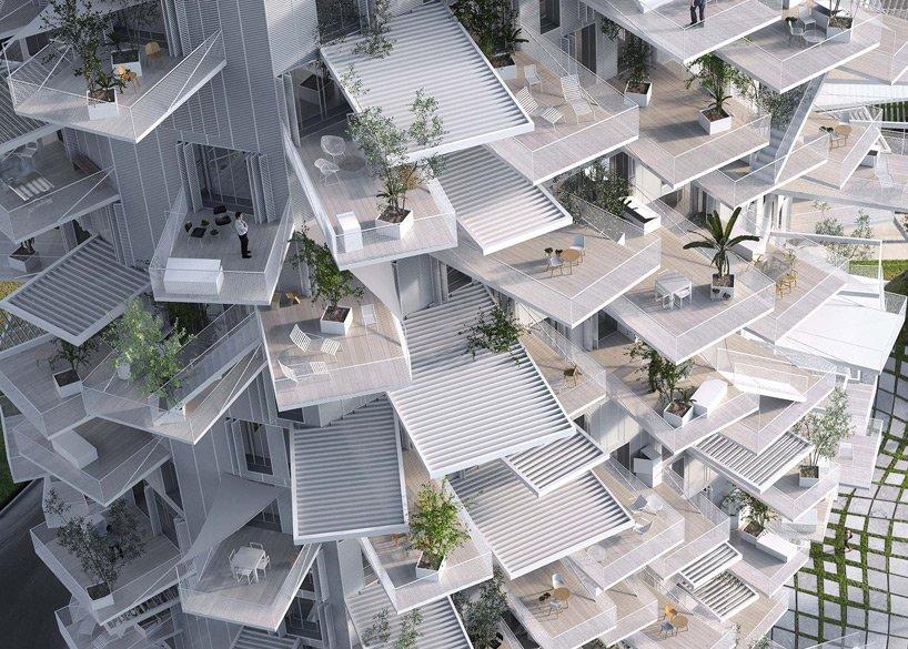 Jede Wohnung hat viele Außenflächen, die begrünt werden sollen und so ein Teil der Kühlung des Hochhauses übernehmen.