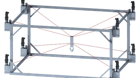 Diese Prinzipskizze verdeutlicht die Funktionsweise des Seilroboters Ipanema, den Fraunhofer Forscher Forscher im Juni auf der Fachmesse Automatica in München präsentieren. Ein Greifer in der Mitte kann sich innerhalb der Konstruktion blitzschnell bewegen.