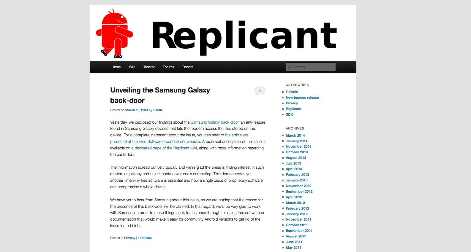 Die Entwickler der Android-Alternative Replicant meldeten die Sicherheitslücke in Samsung-Geräten.