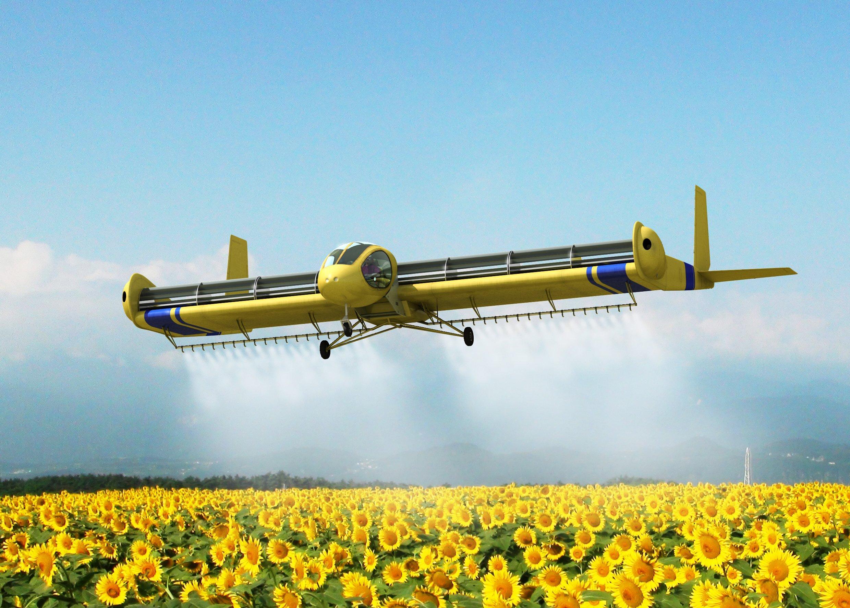 Das Flugzeug FanWing lässt sich auch gut in der Landwirtschaft einsetzen. Es kann ähnlich wie ein Hubschrauber fliegen und braucht nur kurze Start- und Landebahnen.