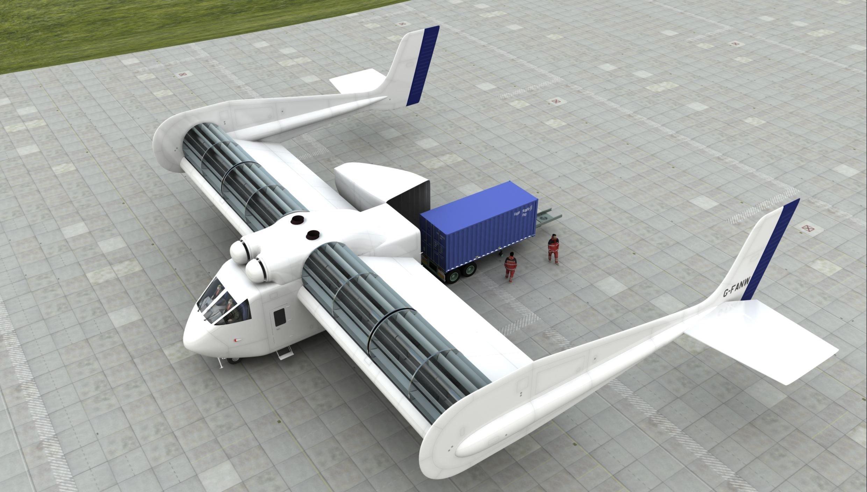 Der britische Erfinder Pat Peebles hat die FanWing-Technik entwickelt, die nun gemeinsam mit den Ingenieuren der Universität des Saarlandes verbessert werden soll. Im Bild der Entwurf für eine Frachtmaschine.