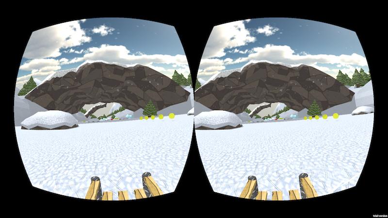 Virtuelle Schlittenfahrt mit der Brille Oculus Drift. Der Träger kann seinen Kopf bewegen und so die Perspektive ändern, sich also frei in der Landschaft umsehen.