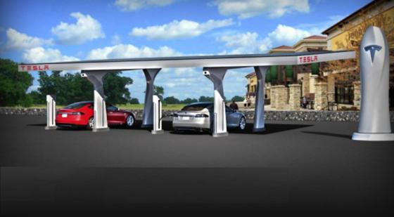 An preiswerteren aufladbaren Batterien mit größerer Speicherdichte sind die Hersteller von Elektroautos (im Bild eine Ladestation von Tesla) äußerst interessiert.