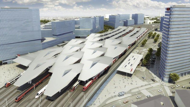 Das Rautendach des Wiener HBFs aus Vogelperspektive. Es umspanntInselbahnsteige, Gleise und Gebäude und ist so groß wie fünf Fußballfelder.