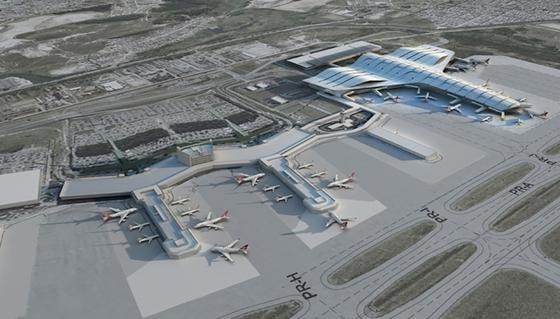 Seit anderthalb Jahren wird am Flughafen in Saõ Paulo am Terminal am Terminal 3 (re.) gebaut. Er soll eine Jahreskapazität für zwölf Millionen Passagiere haben, was einer Erhöhung um 38 Prozent entspricht. Ob er zum Beginn der Fußball-WM fertig sein wird, ist unsicher.