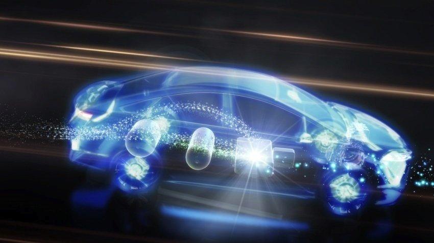 Toyota forscht parallel an alternativen Antrieben: Herzstück des neuen Brennstoffzellenautos sind neuartige Wasserstofftanks und eine besonders effektive Brennstoffzelle für die Stromproduktion an Bord.