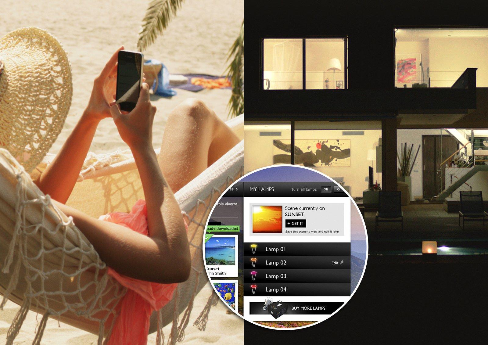 Da die neue Lichttechnik Hue von Philips ins WLAN-Netz des Hauses eingebunden wird, lässt sich das Licht sogar vom Strand aus ein- und ausschalten und in der Farbgebung steuern.