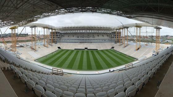 Das Fußball-Stadion in Sao Paulo dürfte erst knapp vor dem Eröffnungsspiel am 12. Juni zwischen Brasilien und Kroatien fertig werden.