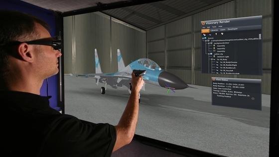 Die Software Visionary Render erzeugt einen dreidimensionalen Cyberspace, in dem Ingenieure gemeinsam an neuen Projekten arbeiten können. Sie bewegen sich im virtuellen Raum mit Hilfe eines Controllers.