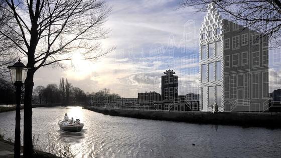 Die einzelnen bis zu 180 Kilogramm schweren Baublöcke aus dem 3D-Drucker sollen wie Legosteine zum Haus zusammengesetzt werden. Architektonisch wird es unter den übrigen traditionellen Häusern am Kanal in Amsterdam zum Blickfang werden.