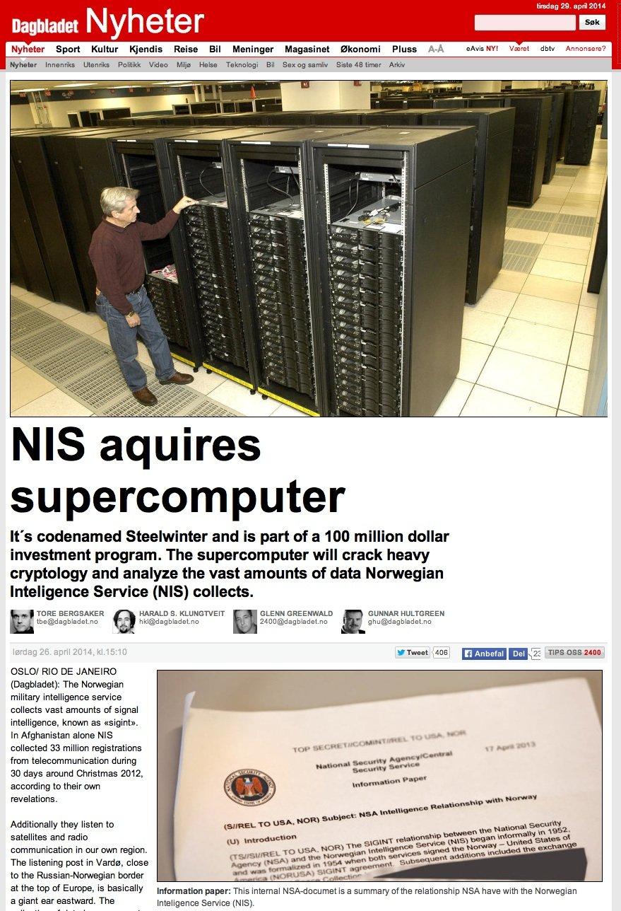 Enthüllungsartikel der norwegischen Tageszeitung Dagbladet: Der Geheimdienst NSI bezieht einen Supercomputer von der NSA, um Informationen aus Osteuropa auswerten zu können.