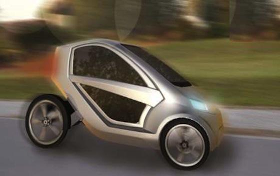 Das E-Mobil des Unternehmens Onyx aus Osnabrück unterstützt die Pedaltritte des Fahrers mit einem Elektromotor. Sogar ein Beifahrer kann im kleinen Cityflitzer mitfahren.