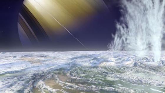 Ein künstlerischer Blick in eine andere Welt: Der Mond Enceladus mit dem Gasplaneten Saturn im Hintergrund.