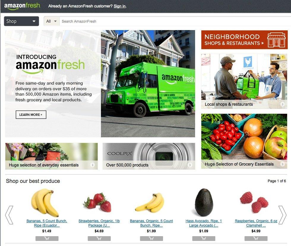 AmazonFresh gibt es schon seit Jahren in wenigen Städten in den USA: Über Abonnenten-Zahlen macht Amazon allerdings keine Angaben. Die Produkte sind auch reichlich teuer.
