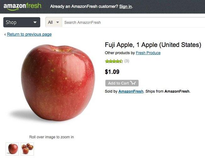 Den Einkauf bei Amazon muss man sich leisten können. Ein Apfel kostete bei AmazonFresh am Montag 1,09 Dollar.
