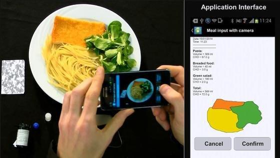 Nachdem der Benutzer ein Foto seines Essens gemacht hat, segmentiert die App automatisch die einzelnen Bestandteile. Mit Hilfe einer Nährstofftabelle verrät sie dann dem Diabetiker den gesamten Kohlenhydratgehalt.