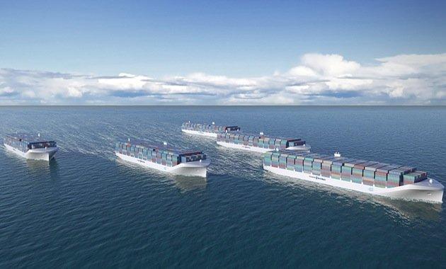 Computersimulation: Ein Verband von Drohnenschiffen wird angeführt von einem bemannten Schiff. Auch Rolls Royce arbeitet an der Vision der unbemannten Schifffahrt.