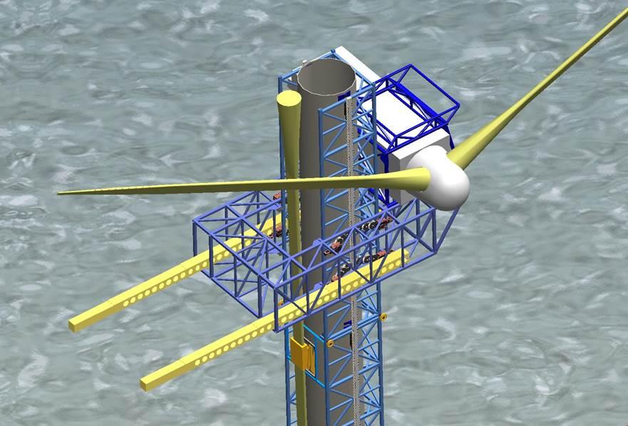 Montage ohne Kran:Der Aufzug wächst mit dem Turm in die Höhe. Jedes Rotorblatt kann dann mit dem Aufzug in Position gebracht werden.