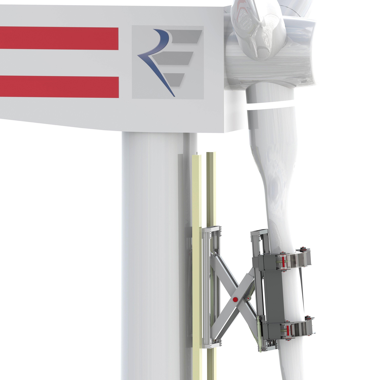 Windrad-Montage ganz ohne Kran: Der am Fraunhofer-Institut IPH in Hannover entwickelte Greifer hält das Rotorblatt fest und positioniert es ferngesteuert exakt in der Nabe.