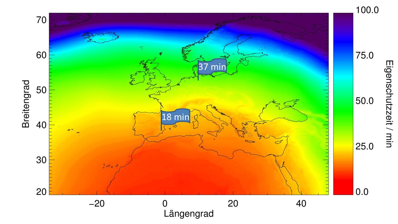 Die App kann die Sonnenschutzzeiten für jeden Standort in Europa ermitteln.