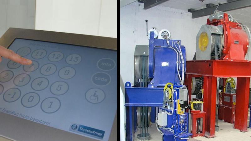 Moderne Aufzugstechnik wird für zukünftige Anforderungen an moderne Gebäude immer wichtiger: Im Testturm entwickelt ThyssenKrupp unter anderem den Twin weiter, ein neues Aufzugsystem mit zwei unabhängigen Kabinen in einem Schacht.