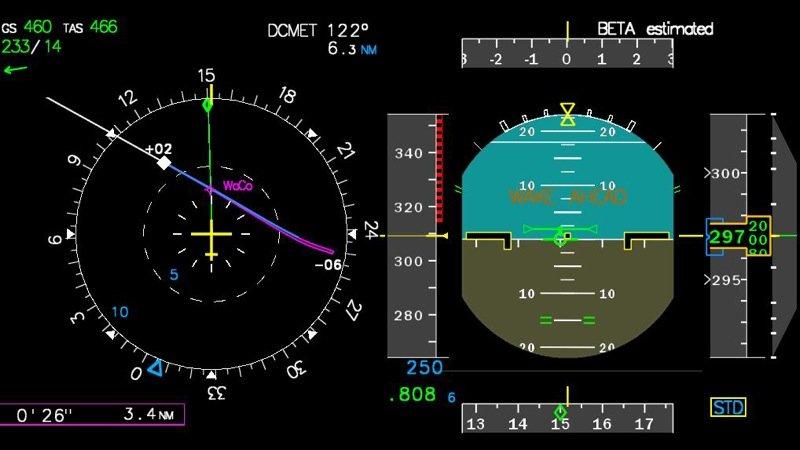 Navigationsdisplay: Eine magentafarbene Linie zeigt den Bereich der Wirbelschleppen an.